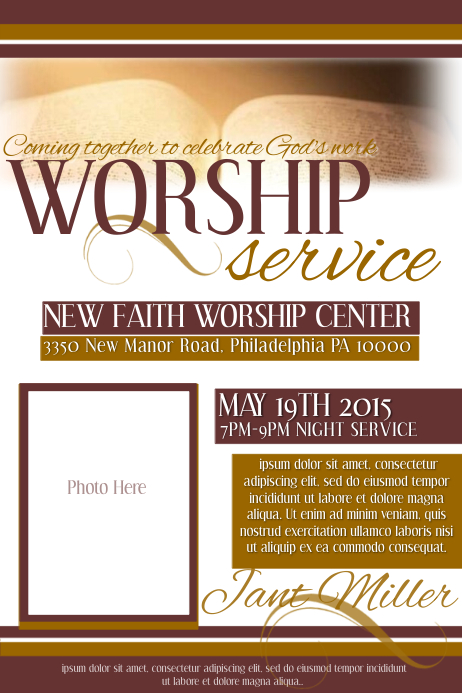 Worship service template postermywall for Worship schedule template