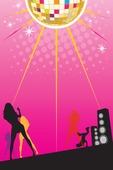 pink disco flyer background